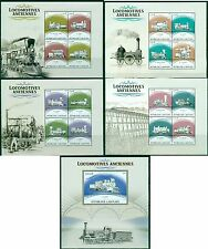 Trains Railroads Steam Locomotives Vintage Gabon MNH stamp set 4 diff. 4val + ss