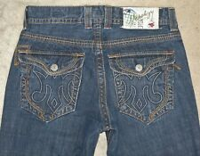 MEK Denim Mens Darwin Straight Jeans Sz 32 x 29 Distressed 100% Cotton Flap Pocs