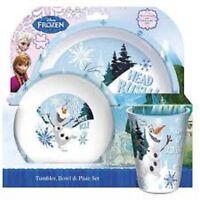 "Disney Kids  FROZEN ""HOT ICE"" Tumbler,Plate, Bowl 3 Piece Dinner Tableware set"