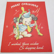 Vintage Christmas Greeting Card 1949 Dog Wishes Puppy Cut Out Wish Bone Red USA
