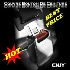 1 COUVRE BOUCLE BOUTON DE CEINTURE SECURITE CHROME CACHE ADHESIF ABS TUNING AUTO