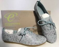 NEW EASY SPIRIT Cushion Leather Tennis Shoes Size 7 1/2 Blue Floral Print Flats