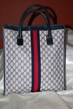Authentic Vintage Gucci Accessory Collection Monogram Tote Handbag Blue/Red 80's