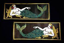 Vintage Pair - Usn Liberty Cuff Patch (1) Pair - Pure Silk Mermaid Design - Nos