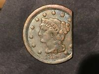 1854 Large 1c Braided Hair Cent Straight Clip Clipped with nice toning