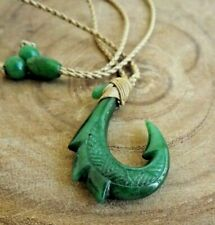 Hawaiian Jade Fish Hook Necklace Natural Jade Shark Hook Adjustable Cord Choker