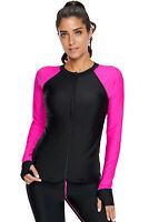 Women Long Sleeve UV Sun Protection UPF 50+ Front Zipper Athletic Rash Guard Top