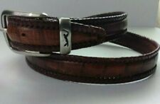 PGA Mens Brown Crocodile Embossed Leather Belt Whip Stitching Trim Size 38