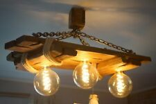 Aged wood ceiling lamp, wooden chandelier, Edison bulbs included, rustic, loft