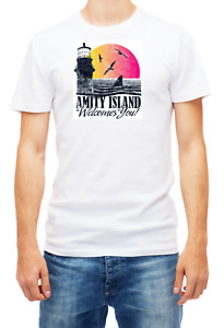 Amity Island Welcomes You Jaws T-shirt Short Sleeve Fashion For Men's K057