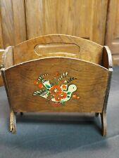vintage wooden magazine, mail rack with carrying handle Dark brown stencil bird