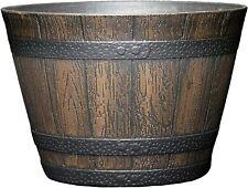 "New ListingResin Whiskey Barrel Flower Pot Round Planter Indoor Outdoor Garden size 9"""