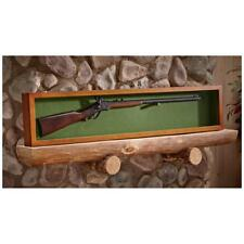 Collector Gun Sword Display Wood Case Wall Mount Storage Rifle Rack Glass Lid