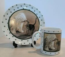 Vintage Vandor Coffee Cup and Plate 1989 Lowell Herrero Cat Dog Sheep Dog Paws