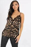 Ladies Leopard Print Lace Detail Cami  Vest Top UK Size 6-14