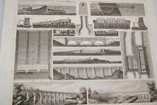 GRAVURE 1851 PONTS VIADUC OUVRAGE D'ART -GEORG HECK FELDWEG (HK-15)