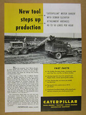 1951 Caterpillar CAT No. 12 Motor Grader & DoMor Elevator Attachment vintage Ad