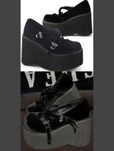 Demonia Kera 10, Black Velvet, Platform, Bat Buckle, Mary Jane Shoes