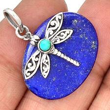 Lapis Lazuli & Sleeping Beauty Turquoise Arizona Butterfly 925 Silver Pendant