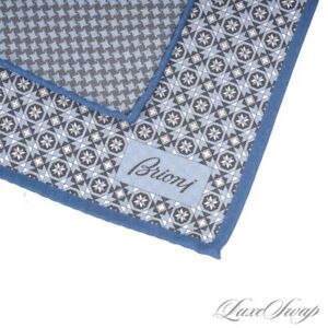 NWOT Brioni Made in Italy Reversible Sky Blue Houndstooth Silk Pocket Square #8