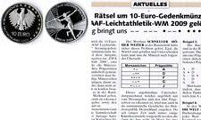 Deutschland / Eurowährung 5 mal 10 Euro Leichtatletik 2009 Münzzeichen ADFGJ