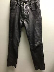 Women's Vintage Black Leather Trousers 90's UK 8/10