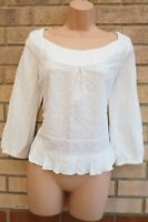 MARKS SPENCER WHITE LINEN LONG SLEEVE FLORAL EMBROIDERED BLOUSE SHIRT TOP 8 S