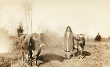 1930s RPPC Postcard; Young Woman & Jersey Dairy Cows, Unknown US Location