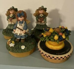Crazy Mountain Snowman Candle Jar Toppers (3) & Warren Kimble Yankee Fruit Bowl