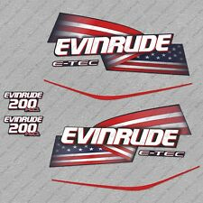 Evinrude 200 hp ETEC High Output outboard engine decals sticker set reproduction
