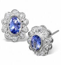 tanzanite e diamante Orecchini AAA BIANCO ORO BORCHIE VALUTAZIONE CERTIFICATO