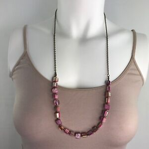 Handmade Necklace Pink Mother of Pearl Shell Beads on a Long Bronze Tone Chain