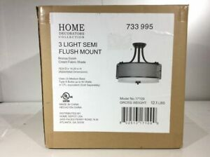 Home Decorators 16 in. 3-Light Bronze Mesh Semi-Flushmount with Fabric Shade
