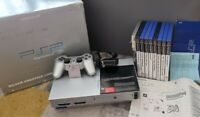 Sony PlayStation 2 Satin Silver Console Bundle controller Mem Card 9games TESTED