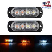 2pcs 4 LED Strobe Lights Emergency Flashing Warning Beacon White Amber 12V 24V