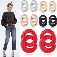 Fashion Women Statement Spiral Geometric Large Circle Drop Dangle Stud Earrings