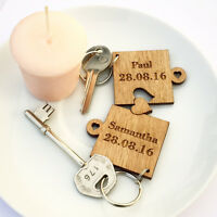 Personalised Puzzle Pieces Keyring Valentines Wedding Gift, Anniversary Present