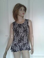 GEORGE BLACK & WHITE LACE LOOK SASSY TOP SIZE 10