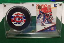 Patrick Roy 1993 The Leaf Set Hockey Card and Puck In Display Mounted Memories