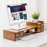 Maydear Bamboo Monitor Stand Riser with Storage Drawer,Desk Organizer Stand