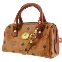 MCM Logos Pattern Mini Boston Hand Bag Brown Coated Canvas Germany Auth #AB880 Y