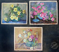 3 Fabulous MID CENTURY MoDerN Oil Painting 1950s blue yellow pink flowers SIGNED