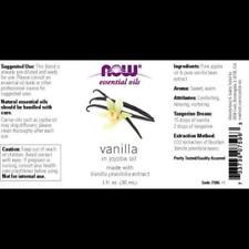 100 Pure & Natural Vanilla in Jojoba Oil Now Foods 1 Oz Liquid