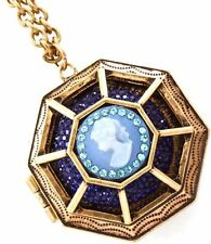 New Gold Tone Blue Crystal Cameo Octagonal Locket Pendant Necklace