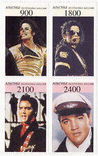 Michael Jackson Elvis Presley Timbre Bloc Lot (4) Timbres ABKHAZIA Stamp Stamps