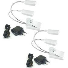 2 St. Superhelle LED Schwanenhalsleuchte weiß Klemmlampe + Netzteil & USB-Kabel