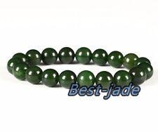 Cert Top Grade Green Nephrite Jade Beads Bangle Bracelet 10mm MAORI  NZ Pounamu