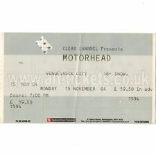 MOTORHEAD & SEPULTURA Concert Ticket Stub NOTTINGHAM UK 11/15/04 ROCK CITY Rare