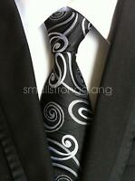Classic Black white pattern Silk Tie Necktie JACQUARD Neck Best Man Wedding gift
