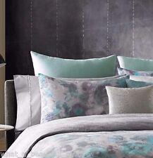 2 Kenneth Cole Home Shadow Floral Euro Shams Solid Aqua 100% Linen European Sham